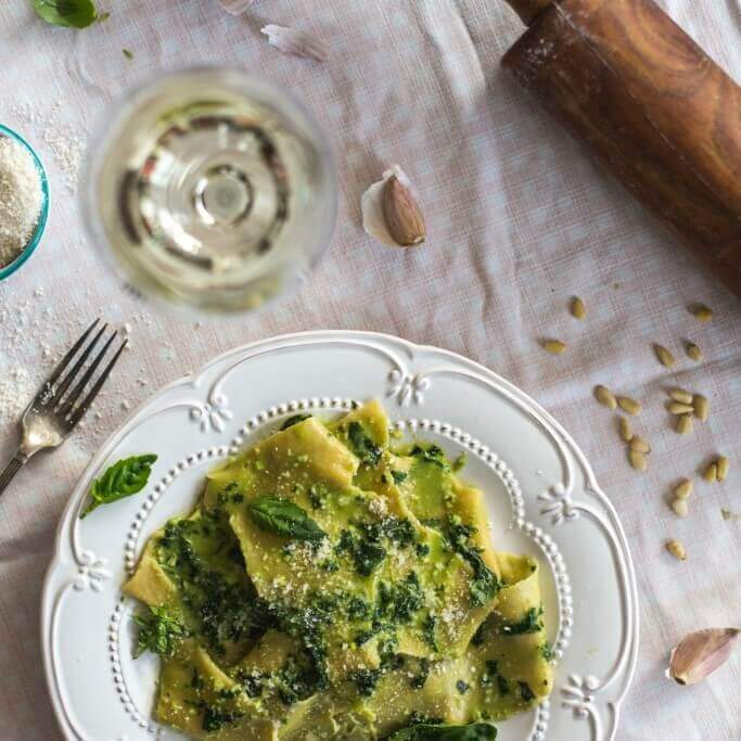 Silk Handkerchief Pasta with Basil Pesto